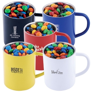 M&M's in Stainless Steel Coloured Double Wall Barrel Mug - Includes a 1 colour printed logo