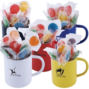 Assorted Colour Lollipops in Stainless Steel Coloured Double Wall Barrel Mug - Includes a 1 colour printed logo, From $6.17