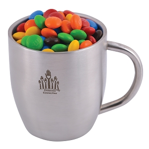 M&M's in Stainless Steel Double Wall Curved Mug - Includes laser engraving logo