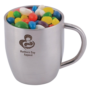 Assorted Colour Mini Jelly Beans in Stainless Steel Double Wall Curved Mug - Includes laser engraving logo, From $9.69