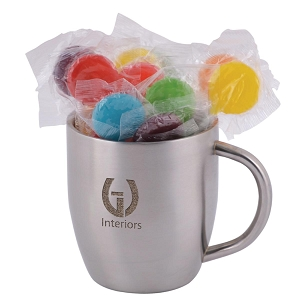 Assorted Colour Lollipops in Stainless Steel Double Wall Curved Mug - Includes laser engraving logo