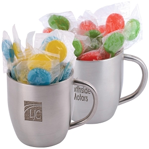 Corporate Colour Lollipops in Stainless Steel Double Wall Curved Mug - Includes laser engraving logo