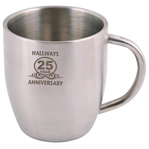 Stainless Steel Double Wall Curved Mug - Includes laser engraving logo