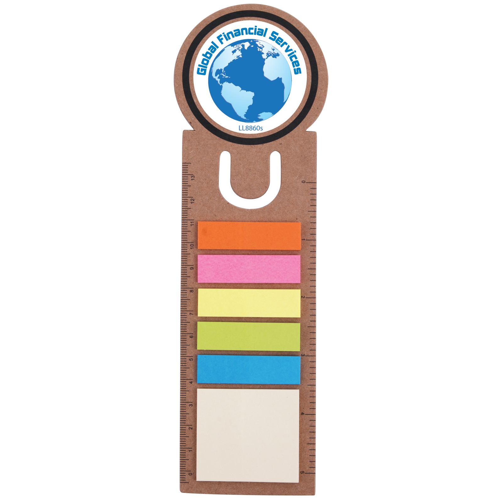Circle Bookmark / Ruler with Noteflags - Includes a full colour logo
