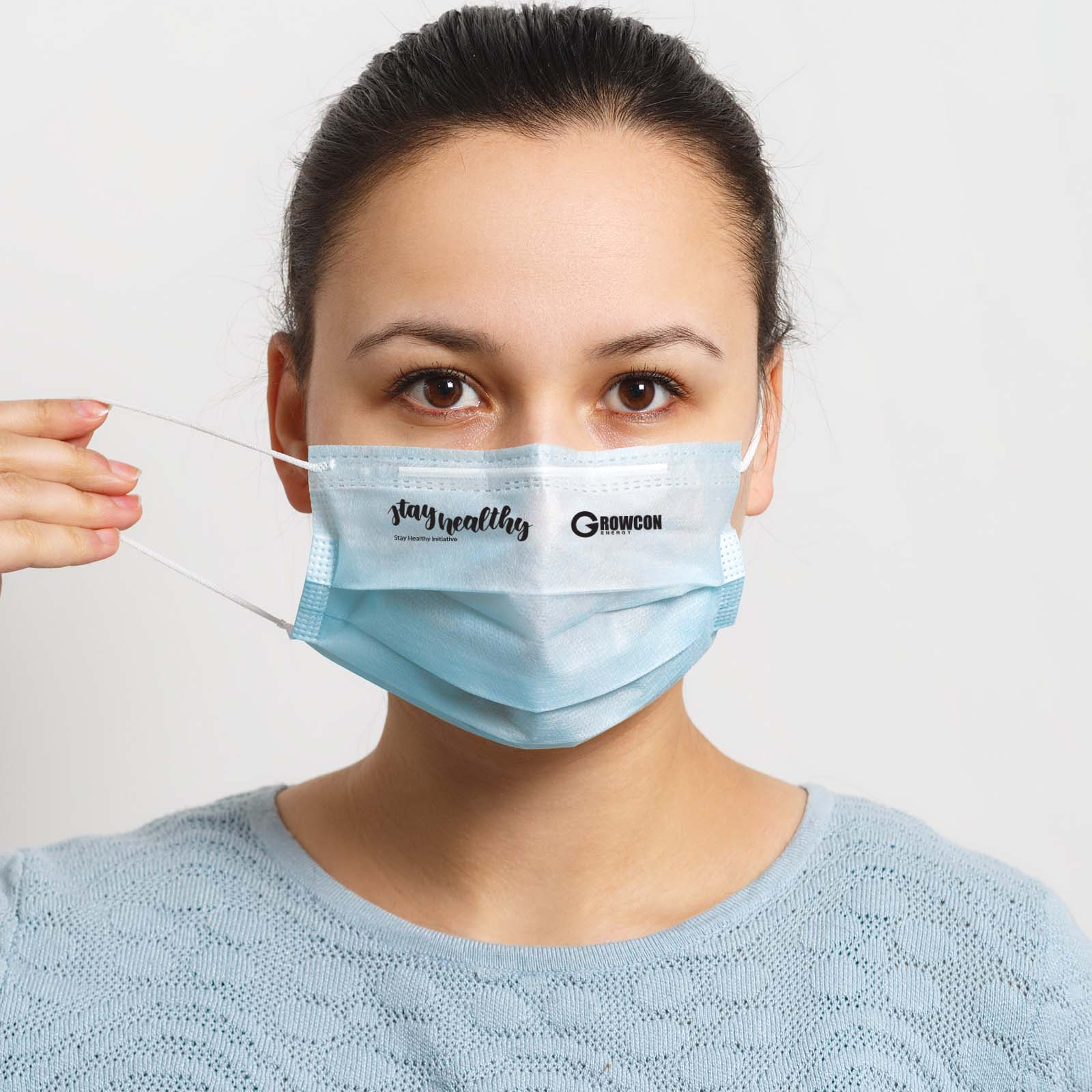 Disposable 3 Ply Face Mask - 1 Pos Digital Label - Box Front