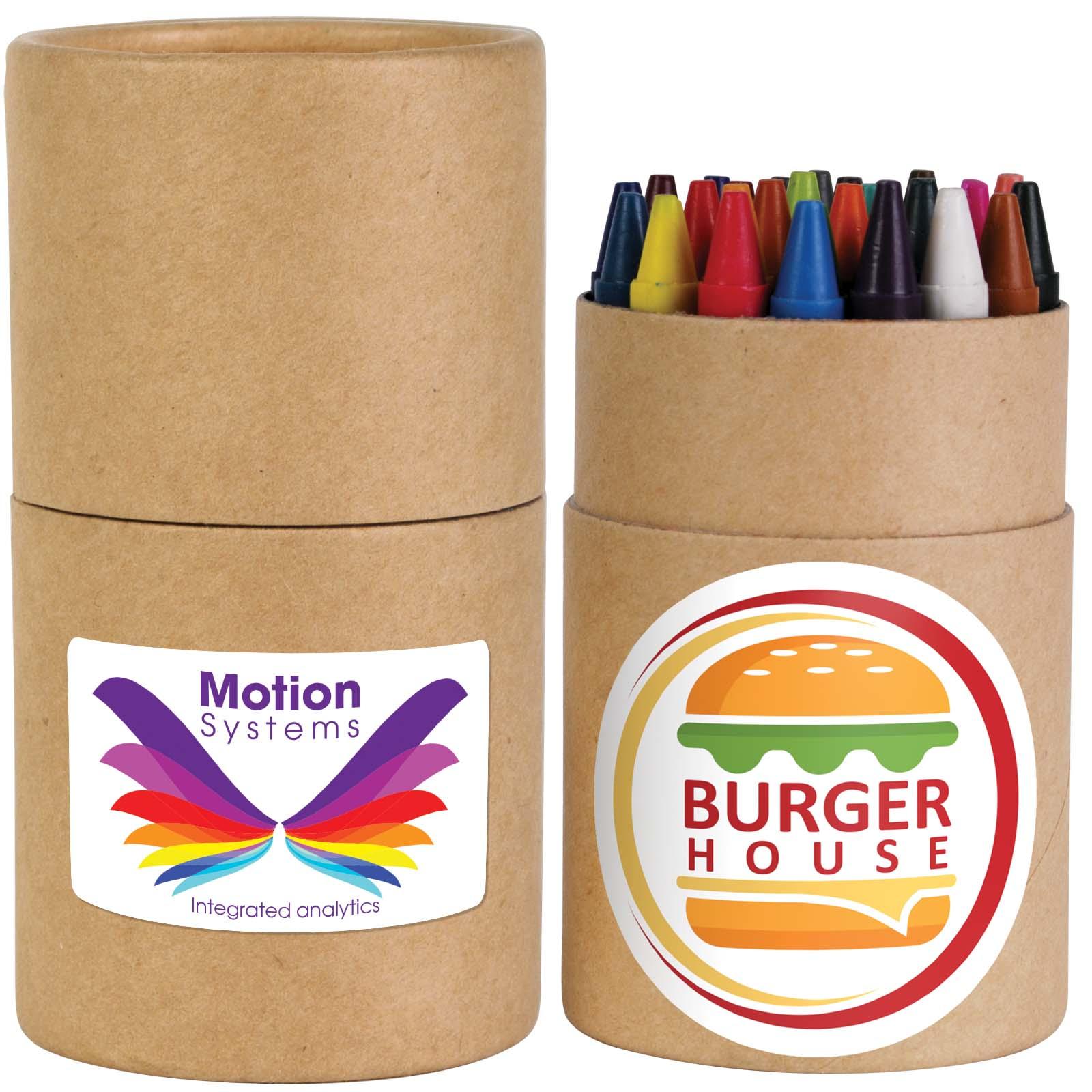 Assorted Colour Crayons in Cardboard Tube - Includes a full colour logo