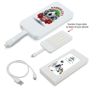 Suction Cup Power Bank with 8 Pin Ribbon Cable  - Includes a 1 colour printed logo