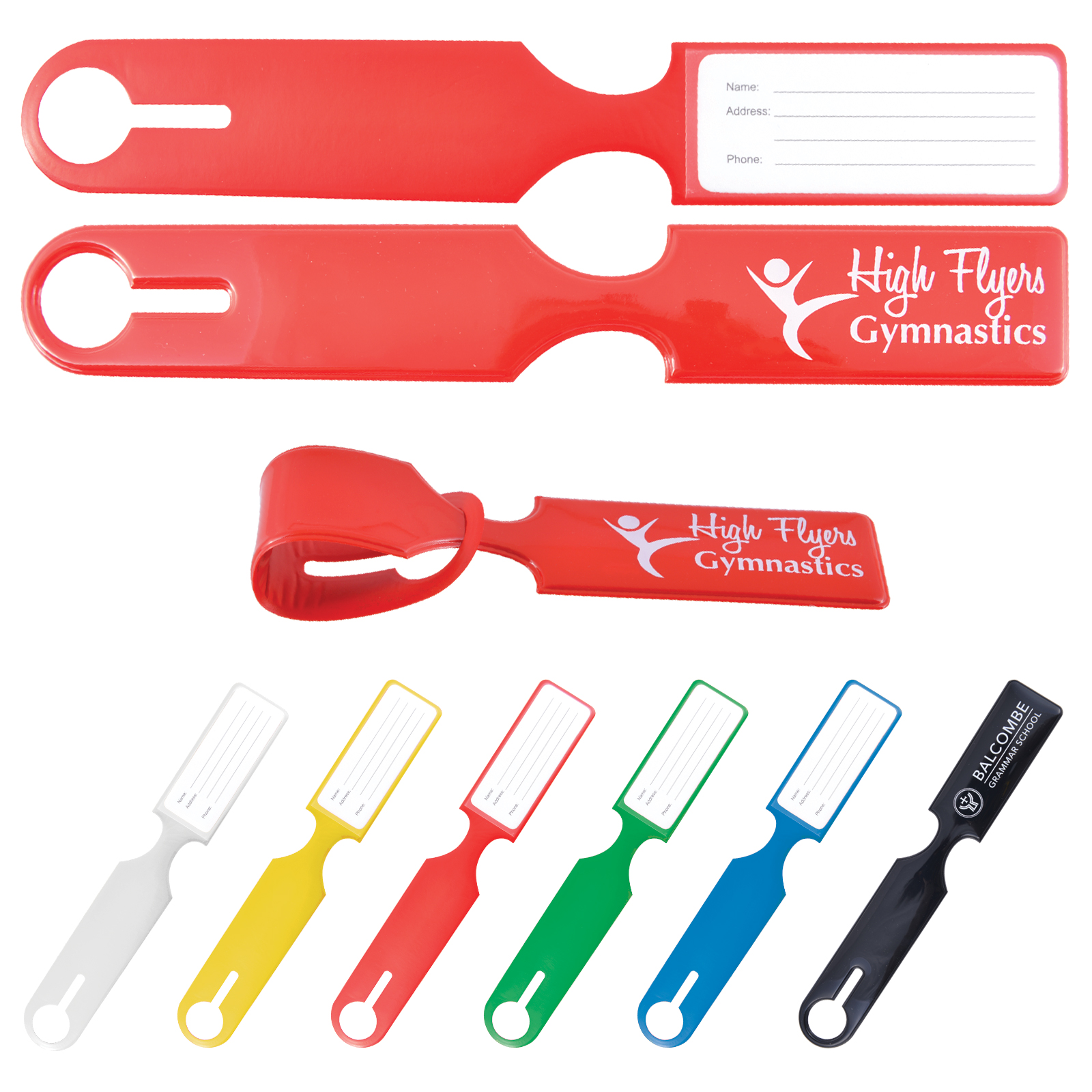 Shiny PVC Self Locking Luggage Tag - Includes debossed logo, From $1.03