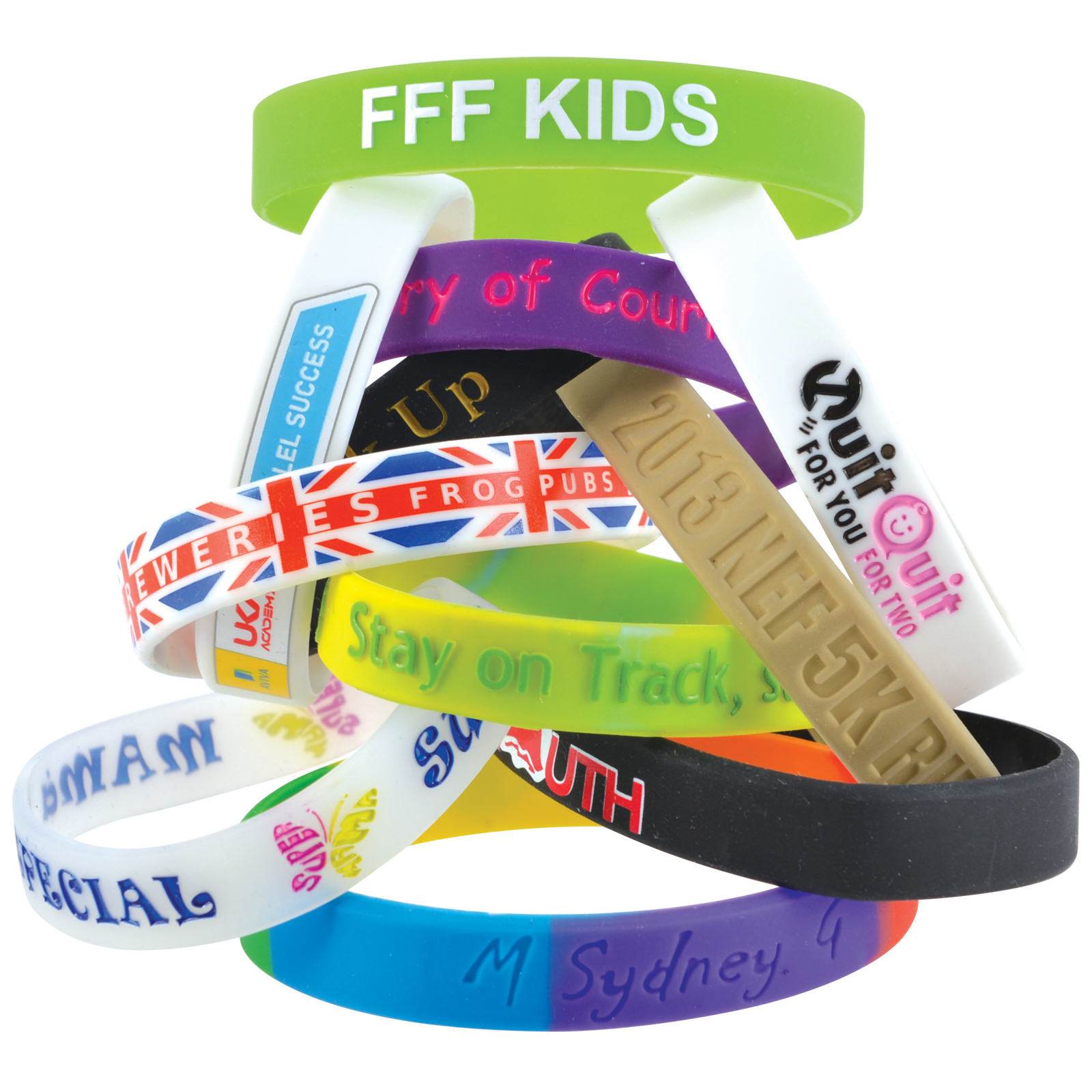 12mm Wide Silicone Wrist Band - Includes debossed logo, From $0.34