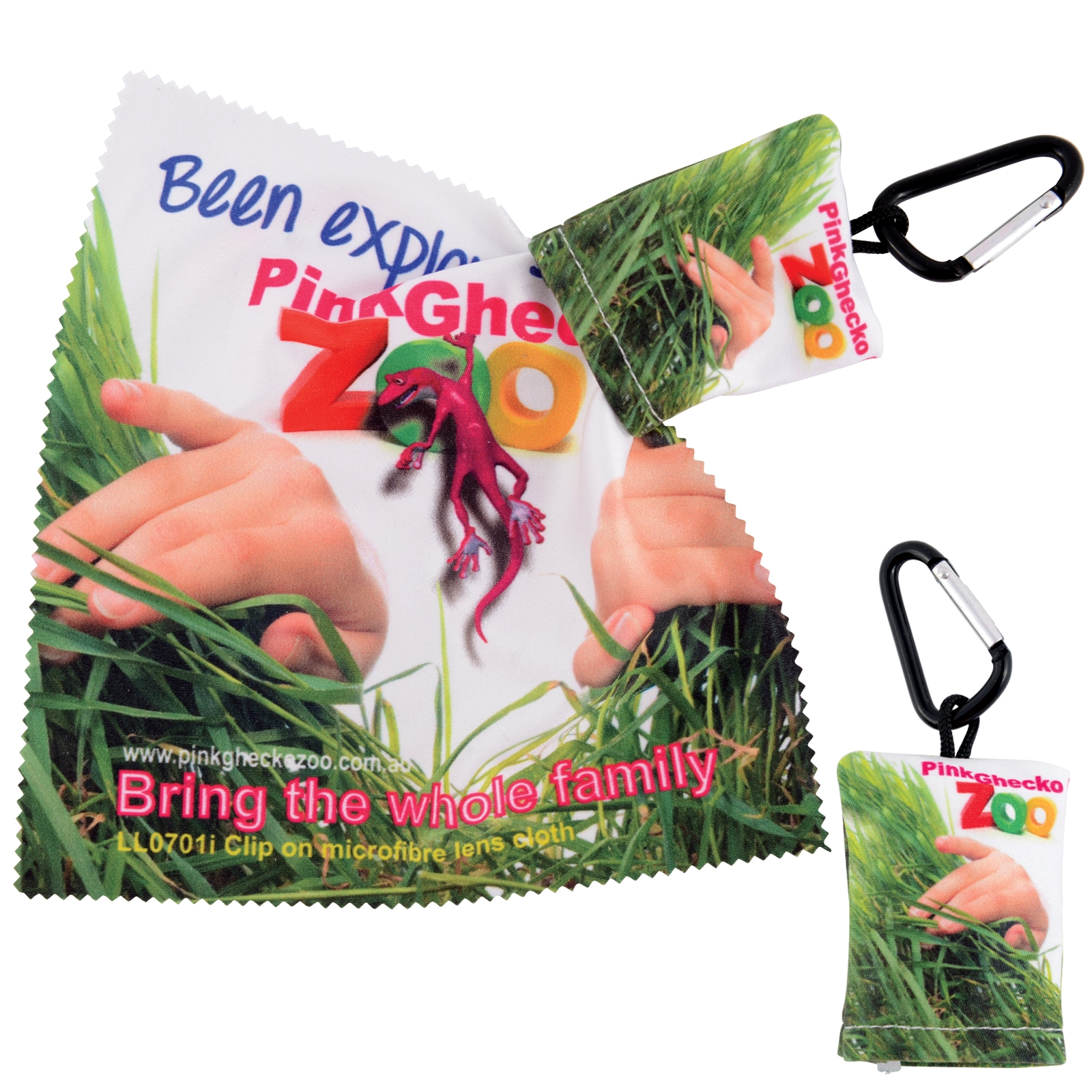 Custom Superior Hi Microfibre Lens Cloth in Pouch with Carabiner - Includes full colour logo