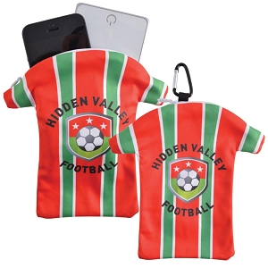 Custom Superior Hi Microfibre T-Shirt Phone Pouch with Carabiner - Includes full colour logo, From $3.8