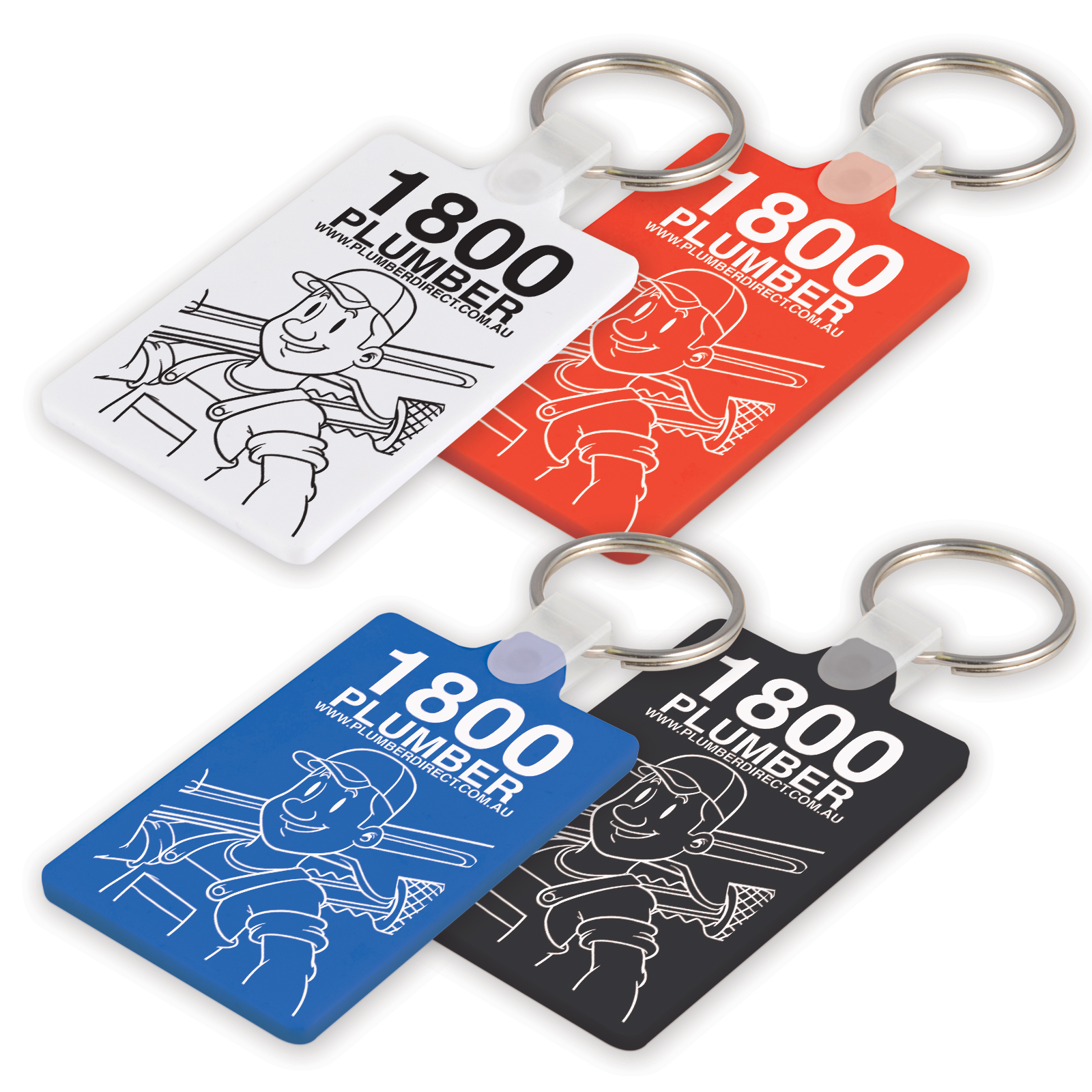 White Rectangular Soft PVC Keytag - Includes a 1 colour printed logo, From $0.78