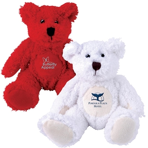 Zoe (Red) and Snowy (White) Plush Teddy Bear - Includes embroidered logo