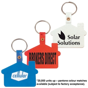 House Shape Flexible PVC Keytag - Includes a 1 colour printed logo, From $0.39
