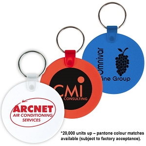 Round Flexible PVC Keytags - Includes a 1 colour printed logo