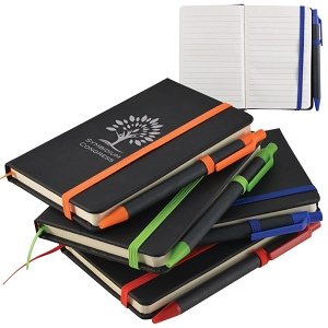 Enterprise A6 Black PU Notebook with Elastic Closure - Includes a 1 colour printed logo