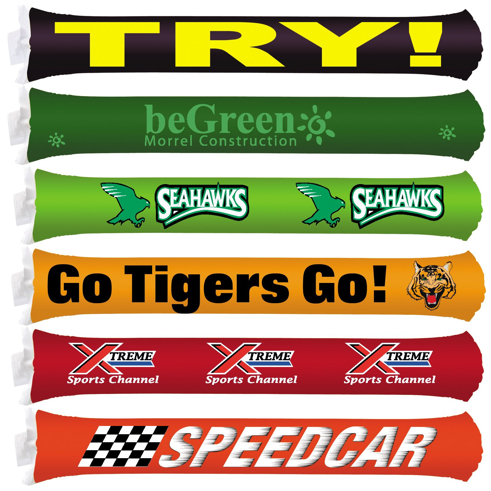 Custom Inflatable Bang Bang Sticks - Includes 1 colour in 2 locations