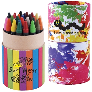 Custom Design Assorted Colour Crayons in Cardboard Tube - Includes full colour logo