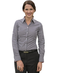 Women's Gingham Check Roll-up L/S Shirt