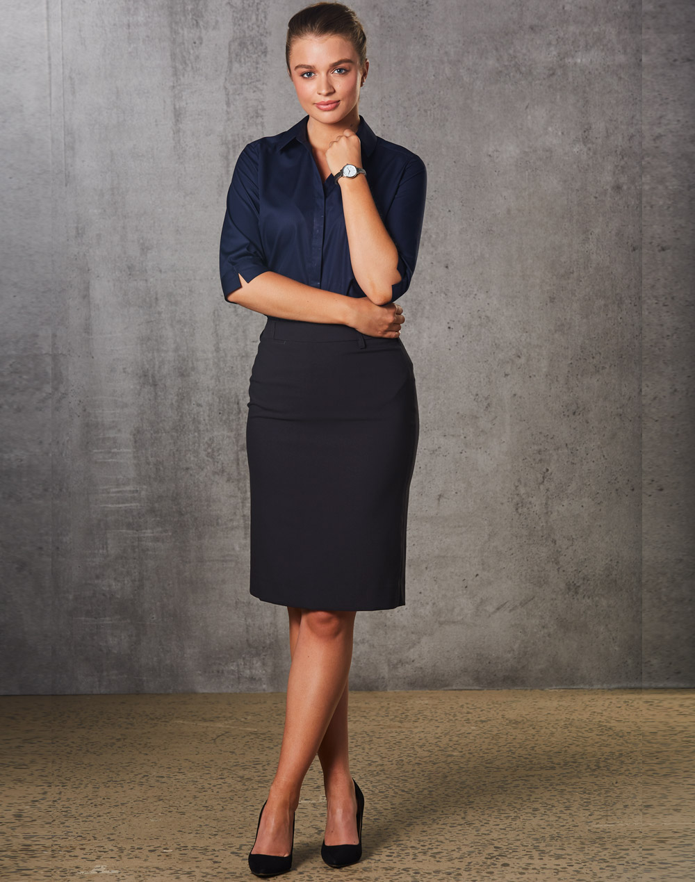 Women's Mid Length Lined Pencil Skirt in Poly/Viscose Stretch