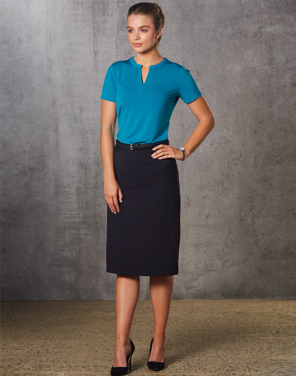 Women's Flexi Waist A-line Utility Lined Skirt in Poly/Viscose Stretch Twill