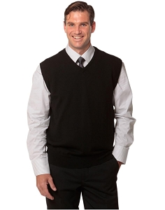Men's 100% Merino Wool V Neck Vest