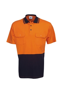 100% Cotton Hi Vis S/S polo, Day Use