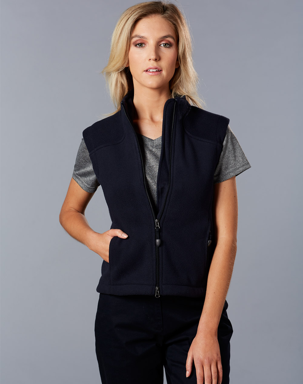 Ladies' bonded polar fleece vest
