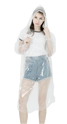 Disposable poncho with long sleeves and elastic cuff & hoodie