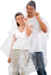 Clear Disposable Ponchos with Hoodie, (Material: 90% 0.015mm thick PE + 10% corn starch which provides a faster degrading process) - CHEAPEST IN AUSTRALIA