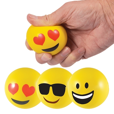 Emoji Stress Ball Reliever - Includes a 1 colour printed logo