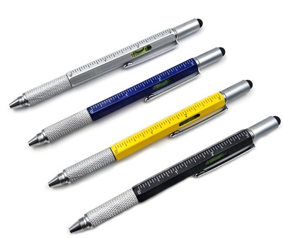 Pen Tool with Level, Stylus, Screw Drivers & Measurements - Includes laser engraved logo