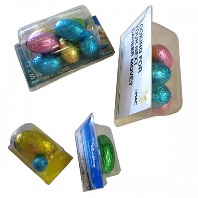 Biz Card filled with Easter Eggs - Includes full colour label