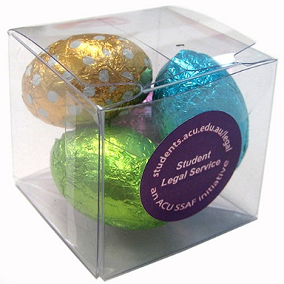 Cube with Mini Easter Eggs x4 - Includes full colour label