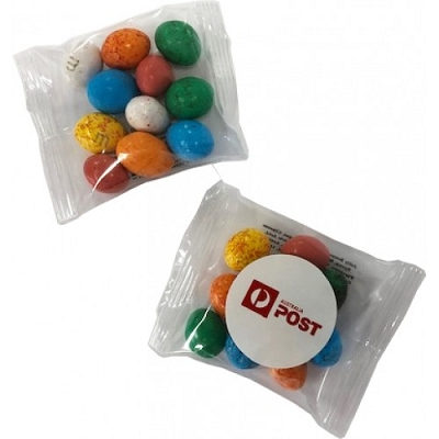 Candy Coated Chocolate Eggs in Bag 25G - Includes a full colour label