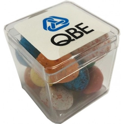 Hard Cube with Candy Chocolate Eggs - Includes a full colour label