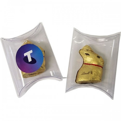 Pillow Pack with Gold Lindt Bunny - Includes a full colour label