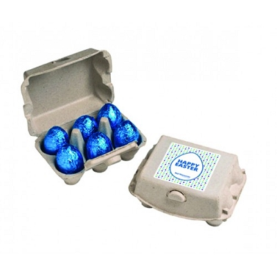 Carton with x6 Chocolate Eggs - Includes a full colour label