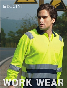 UNISEX ADULTS HI-VIS POLYFACE/COTTON BACK POLO WITH TAPE -L/S
