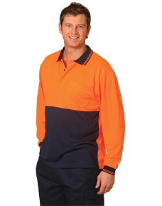 Hi-Vis cooldry safety polo L/S, From $12.5
