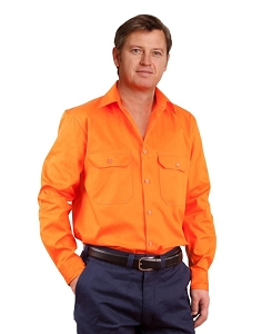 Men's Hi-Vis L/S Drill Shirt, From $22.2
