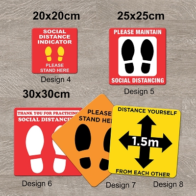 Social Distancing Floor Decals - Design 4, 5, 6, 7, 8, & 9