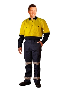 Long fit drill pants with 3M tapes / pocket on leg, From $30.0