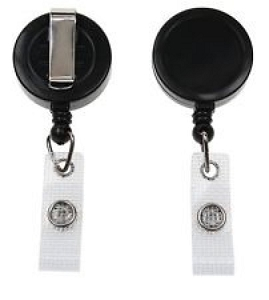 Retractable badge reel in black or white - UNBRANDED, From $0.7
