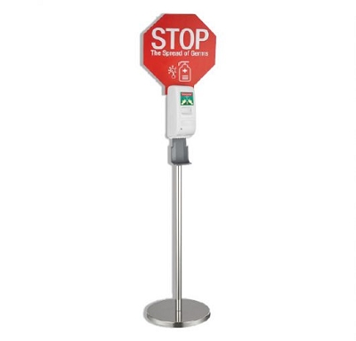 Hand Sanitiser Dispenser Stand - Infrared Auto Dispensing with Stop Sign
