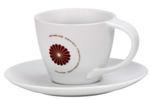 Lynmouth Cappucino Cup & Saucer - White, Includes a 1 colour print on one side, From $4.88