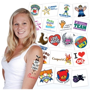 Classic Temporary Tattoos 38x57mm - Includes full colour logo, From $0.07