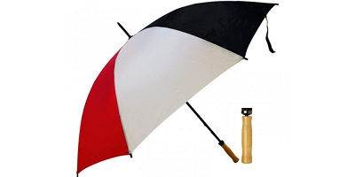 Budget Umbrella (Red-Black) - Includes a full colour logo