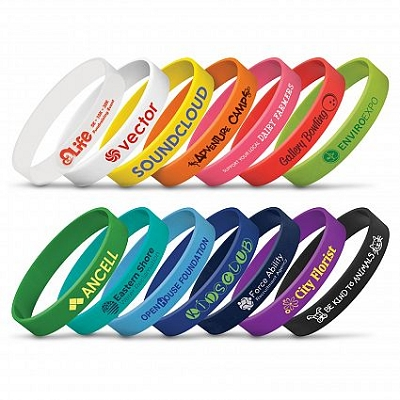 Silicon Wrist Band with a 1 colour printed logo, From 1.98