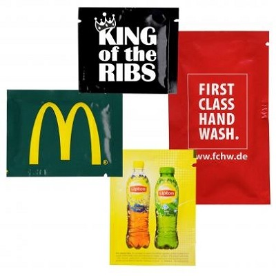 Hand Sachets Single Anti bacterial wipes - Includes a 2 colour printed logo - From